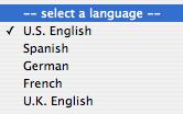window where you choose language, US English, Spanish, German or UK English