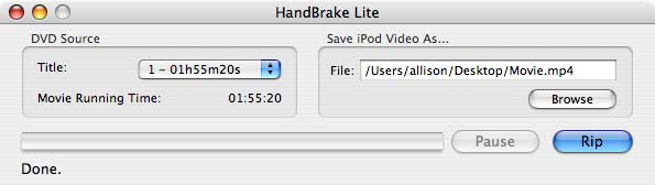 Handbrake lite main and only window