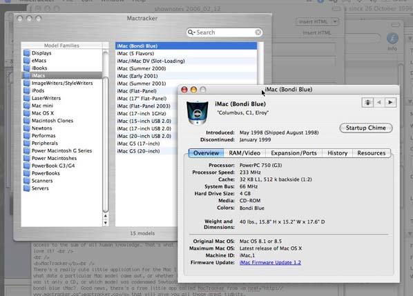 screen shot of MacTracker menus