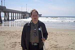 Darrell with his microphone at Venice beach