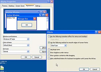 effects dialog box