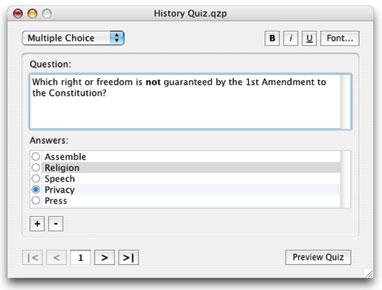 multiple choice Quiz Press screen