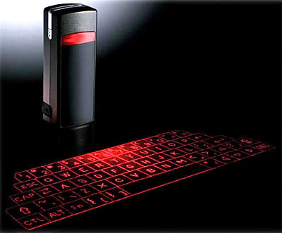 bluetooth laser keyboard showing red letters on black table