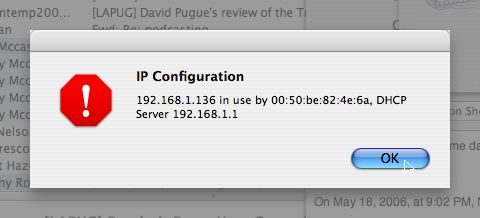 OSX yelling at me about it's IP address being stolen