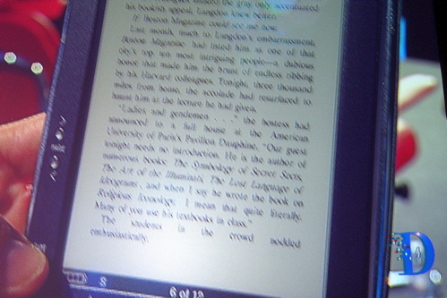 closeup of the Sony Reader