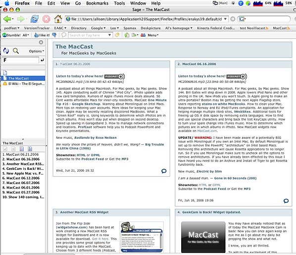pretty screenshot of sage showing The Maccast