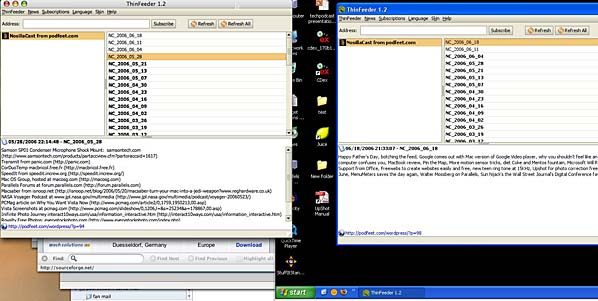thinfeeder running in OSX and Windows simultaneously