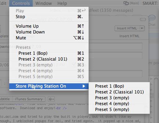 AOL radio menu to set presets