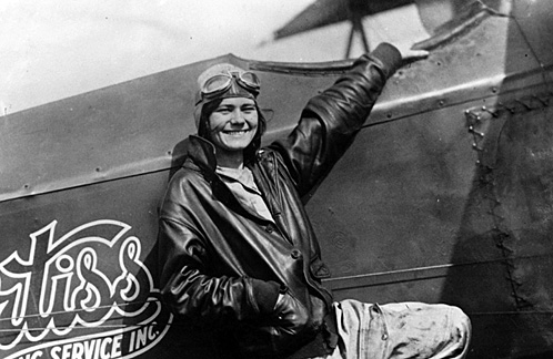 Fay Wells with the Crtiss Plane