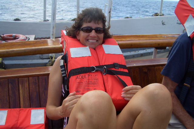 your host in her lifejacket looking like an idiot