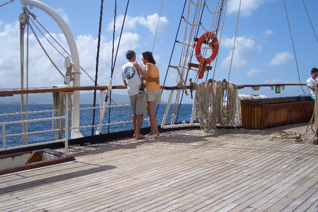 nice shot of Steve and Allison looking out to sea on the deck of the Poly