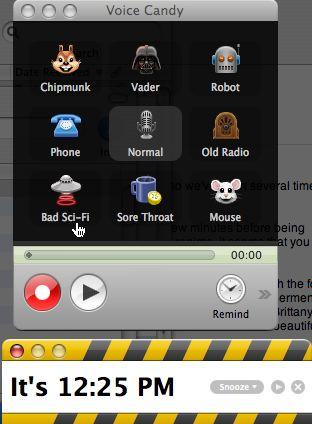 screen shot of Voicecandy main menu