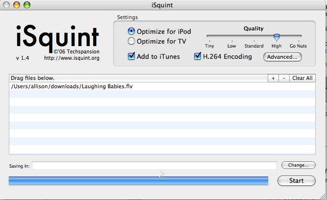 iSquint main screen