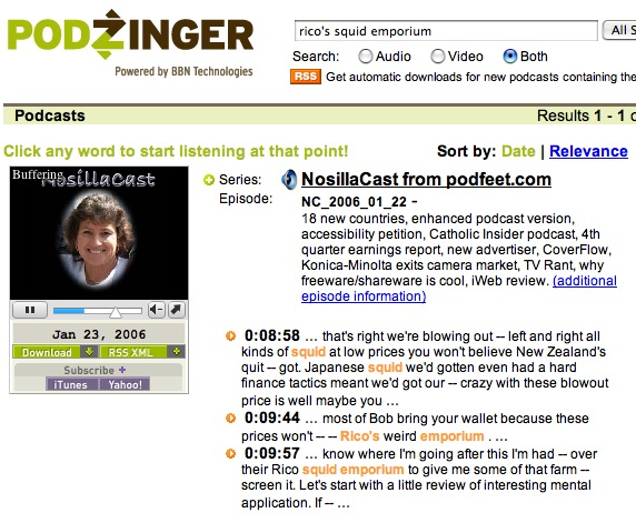 podzinger showing nosillacast in flash player