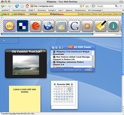 widgetop screen with widgets