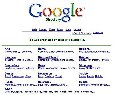 google directory home page