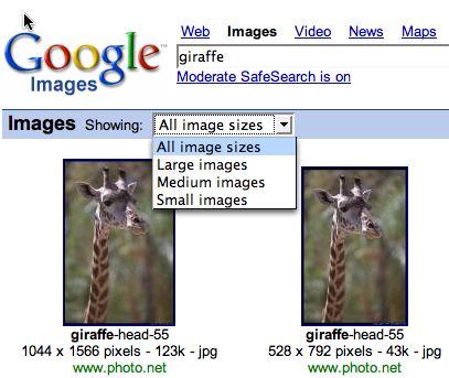 pulldown to change image resolution search