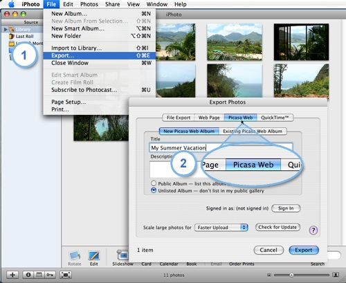 picasa menu in iPhoto export