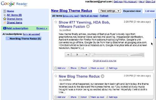 google reader showing nosillacast
