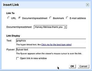 insert link menu