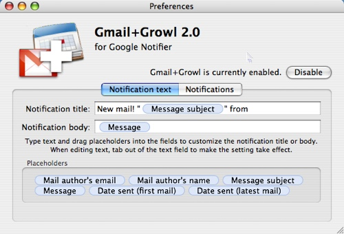 gmail+growl preferences