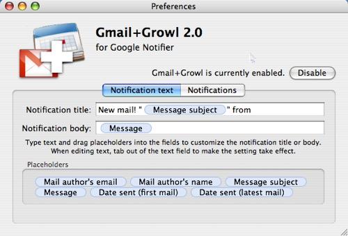 gmail+growl preferences