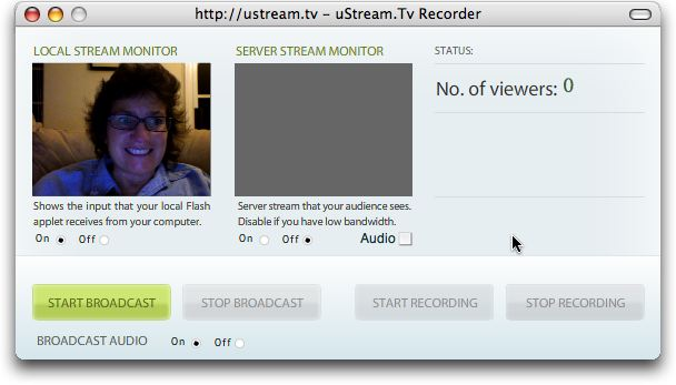 ustream broadcast window