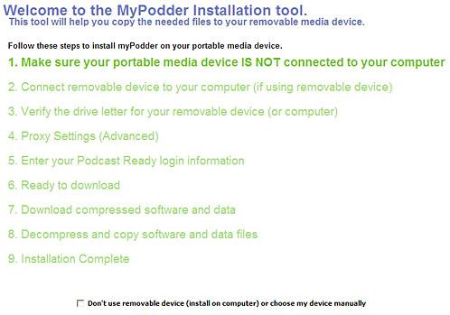 mypodder installation on Windows