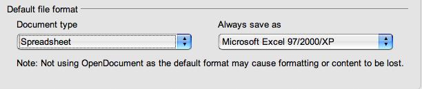 spreadsheet setting to XP
