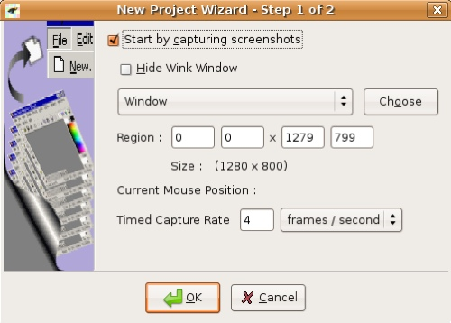 project wizard window