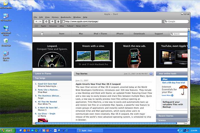 Safari 3 running on XP