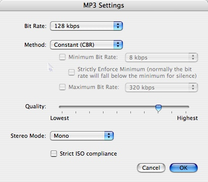 mp3 options