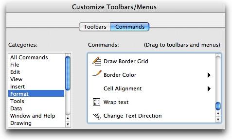 view/toolbars/customize toobars menus
