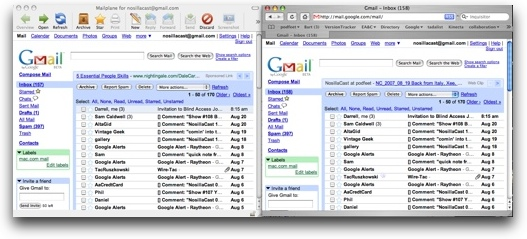 comparison of mailplane and gmail