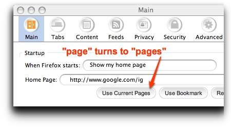 preference to set multiple home pages