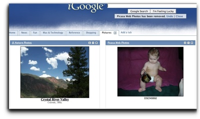 Picasa Web Albums inside iGoogle