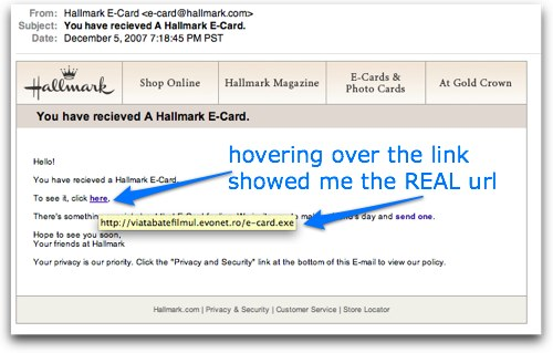 hallmark phishing scam