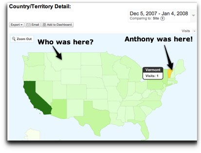 anthony lights up vermont in google analytics!