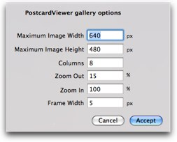 postcard viewer options window