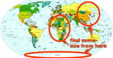 map of the world pointing at africa, asia and antarctica