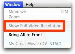 imovie show full video resolution