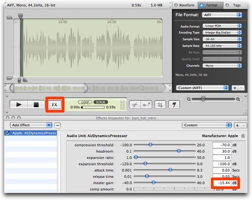 wiretap studio effects menus