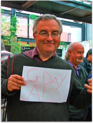 Rose's picture of Leo holding the G'Day Al sign