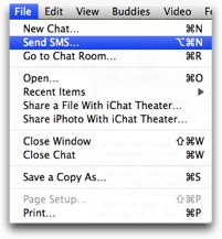 file send sms in ichat