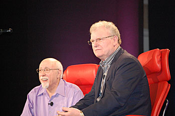 Walter Mossberg on stage with Sir Howard Stringer of Sony