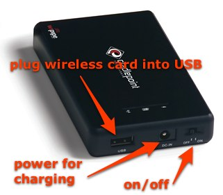 cradlepoint showing usb, power and switch