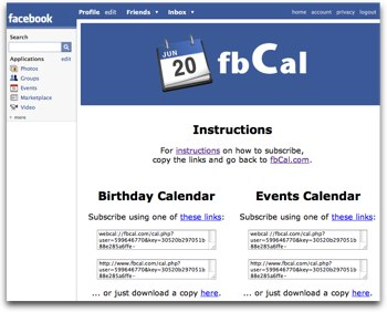 FaceBook Calendar creation