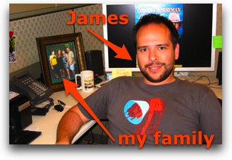 crazy james with a picture of my family