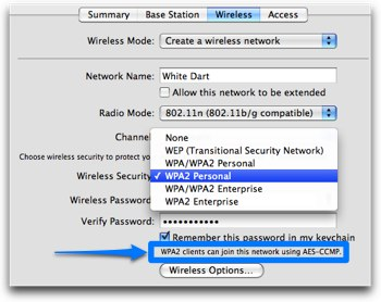 Airport extreme settings