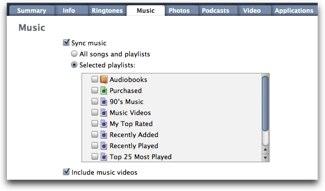 music tab on iTunes